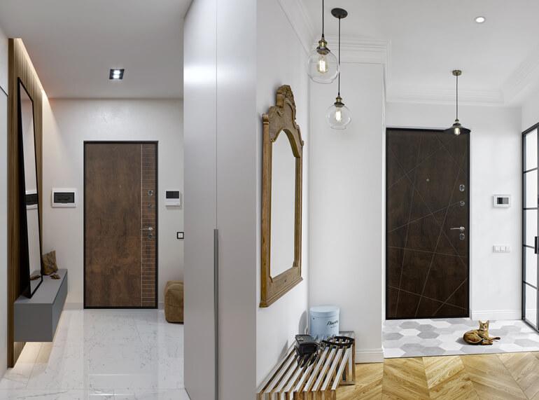 входная дверь для дома из дерева, входная дверь в частный дом, входная дверь с отделкой из дерева